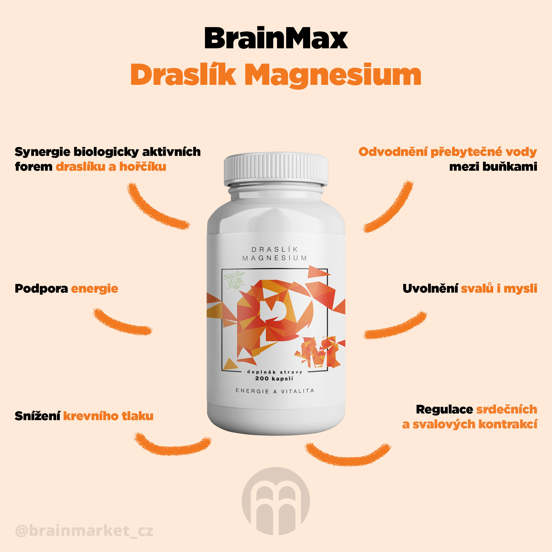BrainMax Draslík Magnesium
